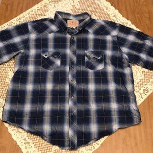 Wrangler | Blue Plaid Western Men's Shirt